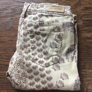 True Religion Cream Floral Skinny Jeans